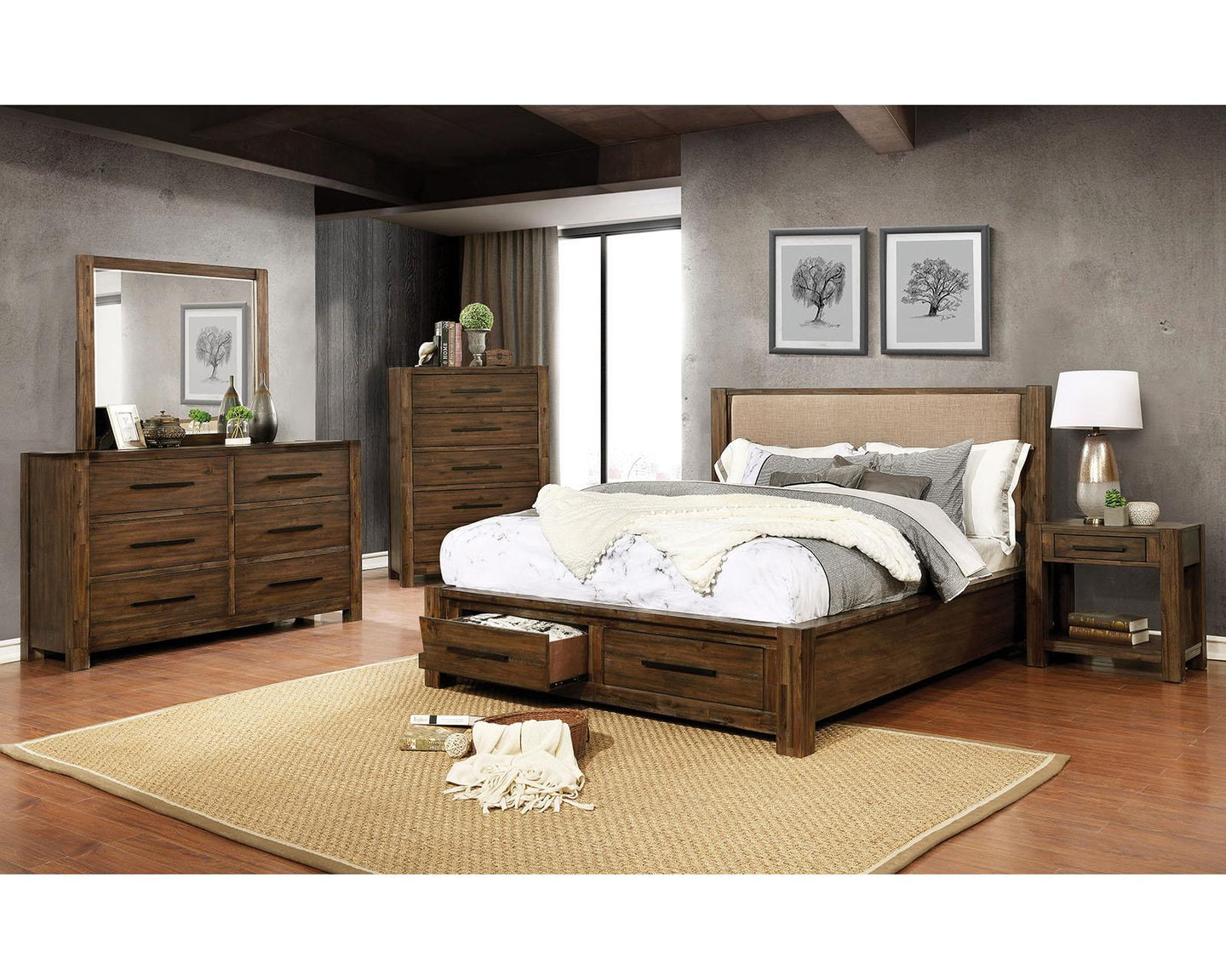 Coney Walnut/tan King Bed