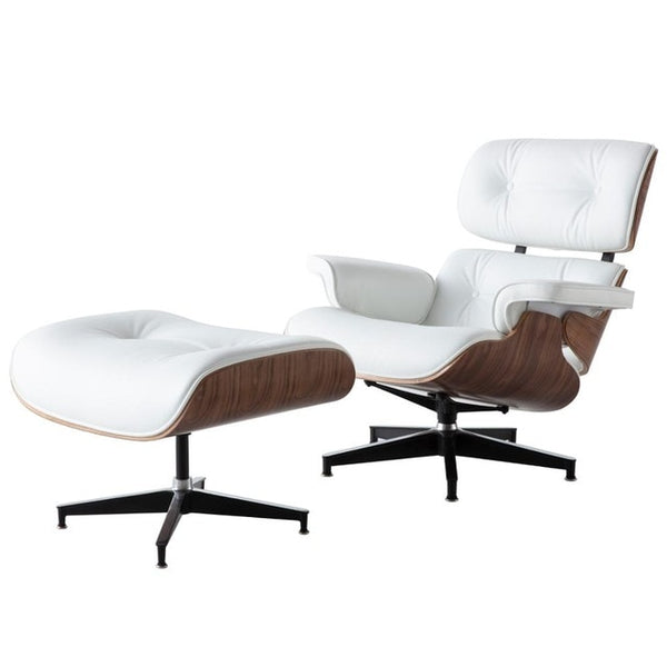 Leather Lounge Chair with ottoman chaise