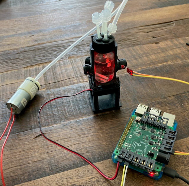 Connections between wetware, Pioreactor HAT, and air pump.