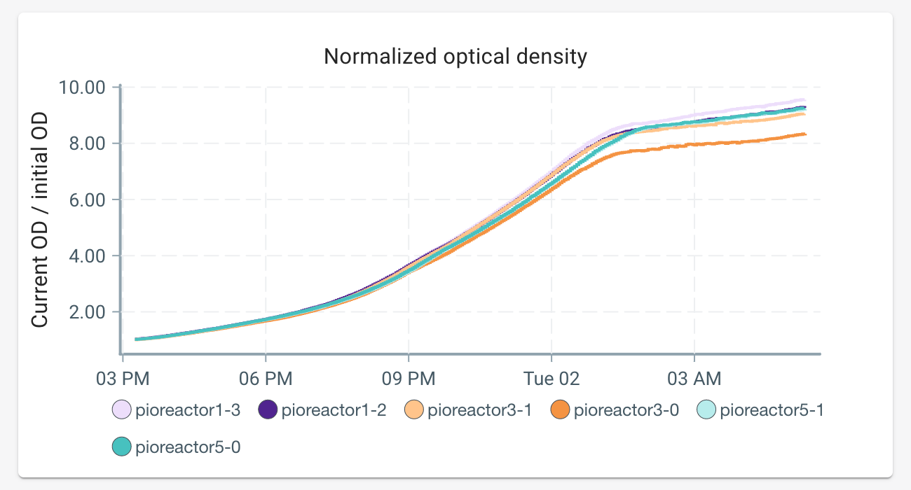 Optical density of growing yeast, over time. Experiment is a triplicate with two sensors in each Pioreactor.