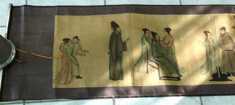 Chinese Watercolour Scroll - Illustrated Scene