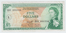 Load image into Gallery viewer, 1965 East Caribbean States $5 Note - Overprint: L in Circle Variation