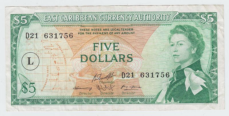 1965 East Caribbean States $5 Note - Overprint: L in Circle Variation
