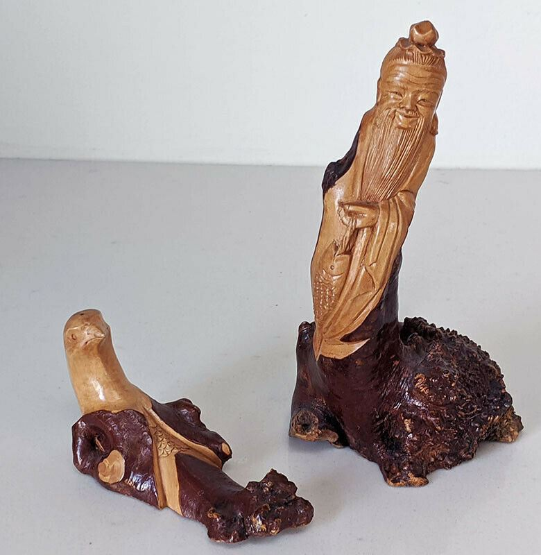 Pair of Hand Carved Root Tree Wood Of Old Man & A Bird