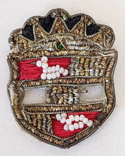 Load image into Gallery viewer, Victorian Beaded Pin on Cloth - Crest / Shield