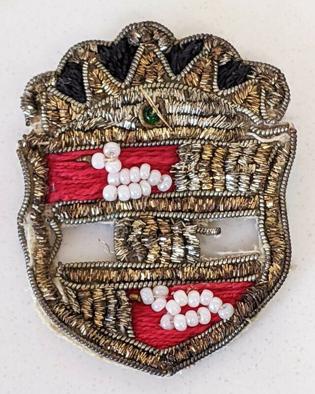 Victorian Beaded Pin on Cloth - Crest / Shield