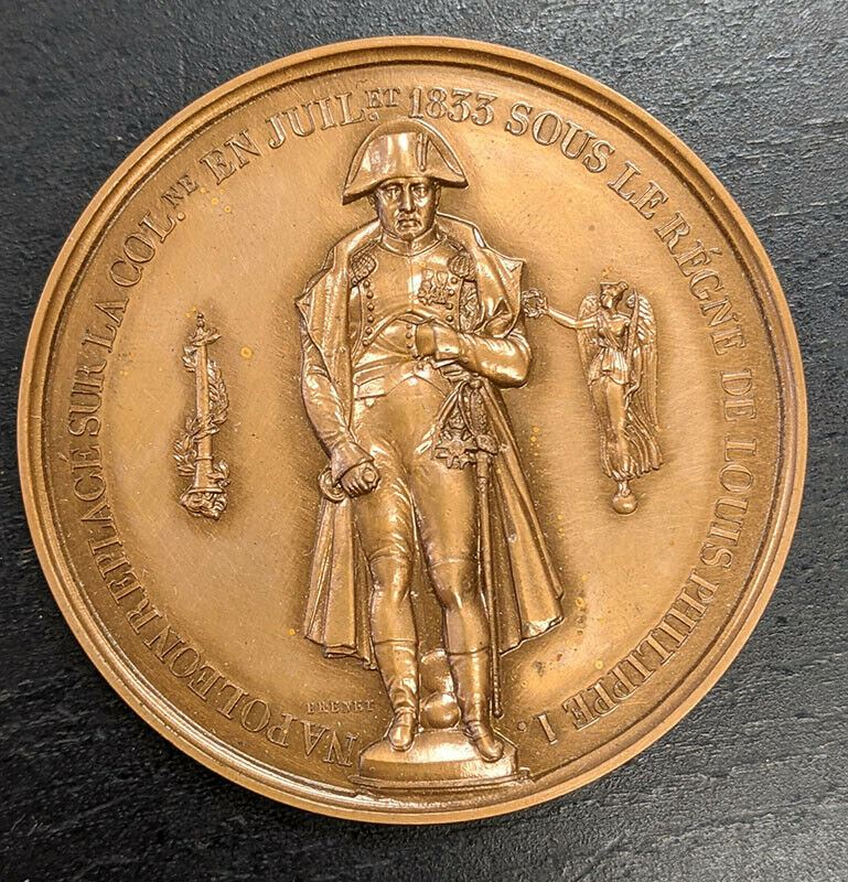 Bronze Medal By Brenet, Commemorating The Restoration of Naploeon 1st Statue
