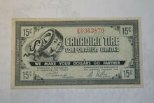 Load image into Gallery viewer, A 1962 Canadian Tire Money 15 Cent Note - VF