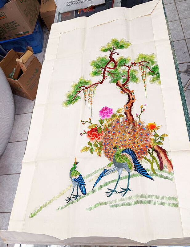 Vintage Asian Silk Embroidery - Never Framed - Peacock - 36