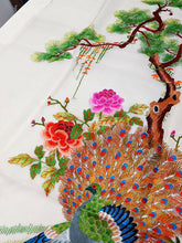 "Load image into Gallery viewer, Vintage Asian Silk Embroidery - Never Framed - Peacock - 36"" x 18"""