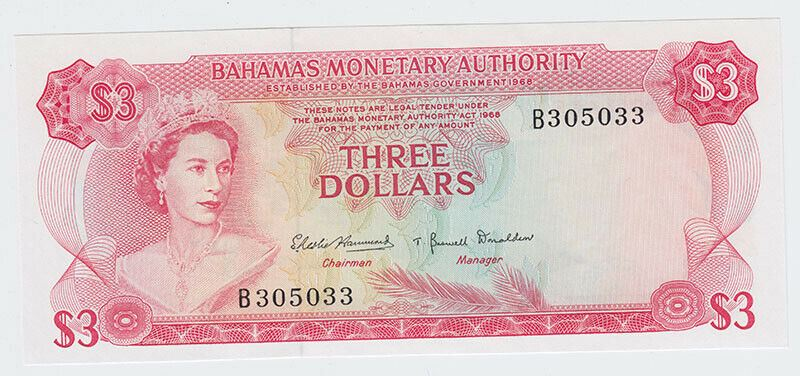 1968 Bahamas $3 Note - Excellent Condition - Young Queen Portrait