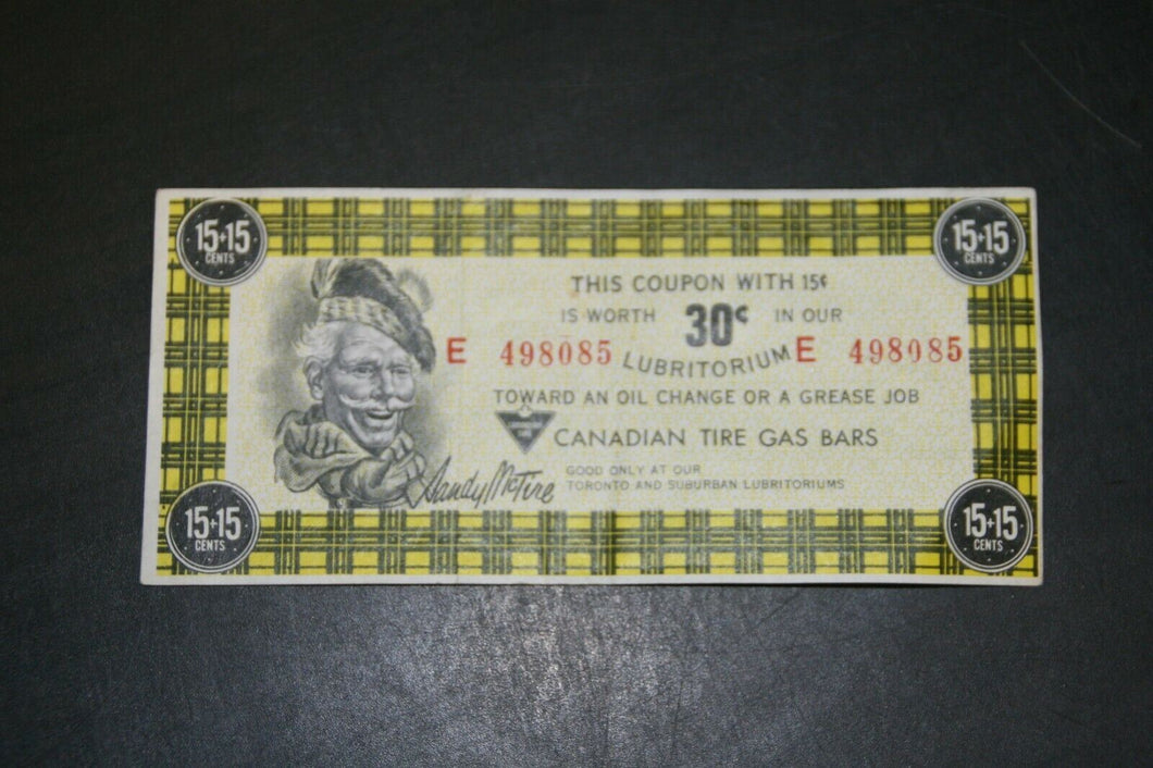 Canadian Tire 30 Cents Pit Stop (15 + 15) E 498085 Note