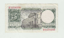 Load image into Gallery viewer, 1954 Spain 5 Pesetas Banknote