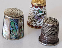 Load image into Gallery viewer, Lot of Vintage Thimbles - Mother of Pearl, Silver Plate, & Cloisonné