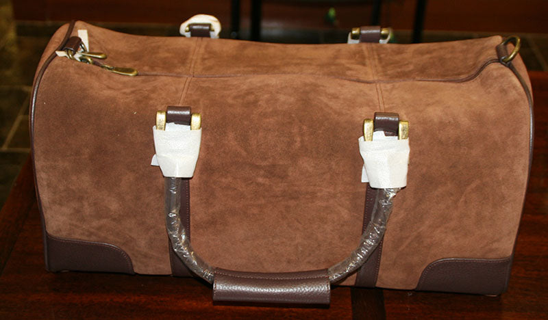 Brown Leather & Suede Over Night Bag - Never Used