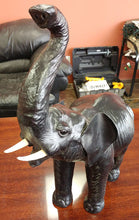 Load image into Gallery viewer, Black Leather Type Elephant Statue - Trunk Up
