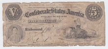 Load image into Gallery viewer, RARE 1861 Confederate States Of America $5 Note – Type 32 – Richmond VA