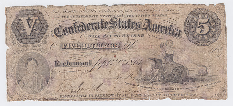 RARE 1861 Confederate States Of America $5 Note – Type 32 – Richmond VA
