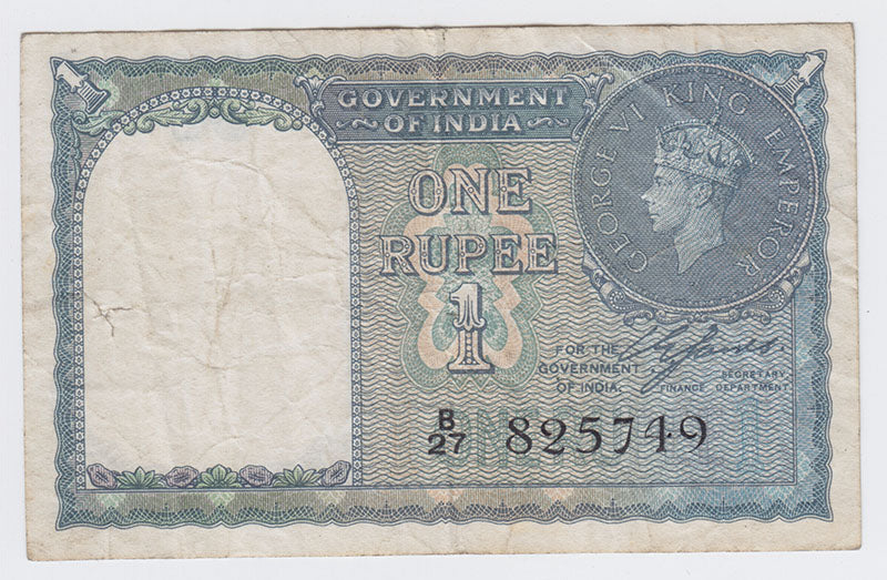 1940 Government of India One Rupee Bank Note