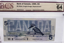 Load image into Gallery viewer, 3 Consec., BCS Graded Bank of Canada $5 Replacement Bank Notes - Choice UNC 64