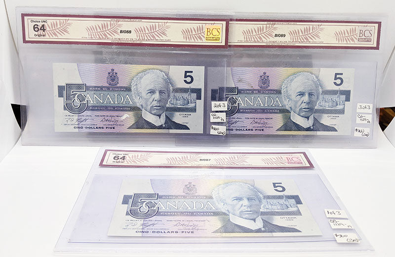 3 Consec., BCS Graded Bank of Canada $5 Replacement Bank Notes - Choice UNC 64