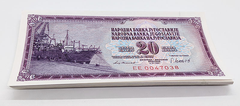 50 Consecutive 1974 Yugoslavia 20 Dinara Bank Notes – U N C