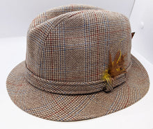 Load image into Gallery viewer, Vintage Country Gentlemans Brown Wool Tweed Trav'ler Fedora / Trilby