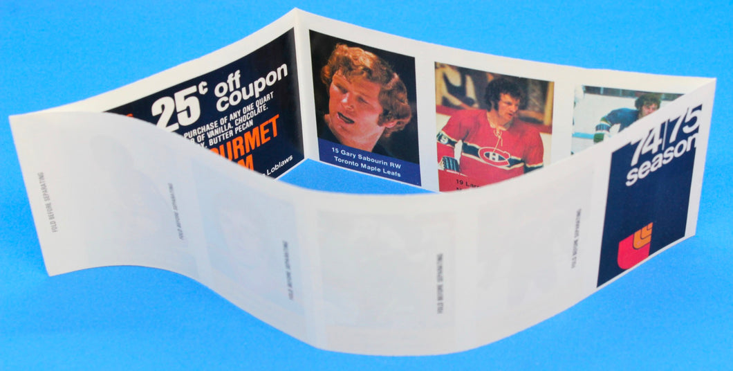 1974-75 NHL Hockey Action Players Unopened Sticker Panel 20 - Sabourin/Robinson