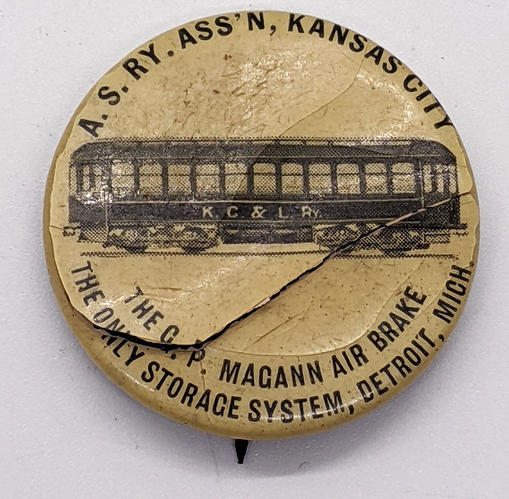 Rare 1900 Kansas City Magann Air Brake Train Pinback – As Is
