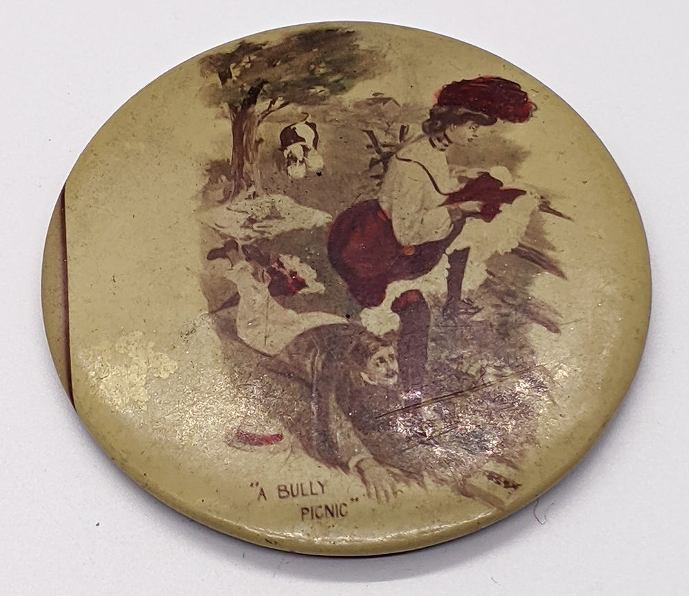 "c. 1900 Naughty Celluloid Pinback – ""A Bully Picnic"""