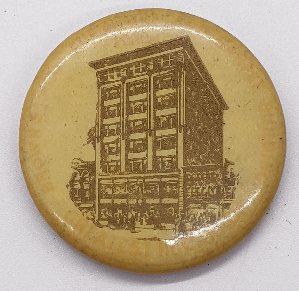 Vintage Advertising Celluloid Pin – Brown's New Furniture & Carpet Building