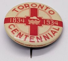 Load image into Gallery viewer, 1834 – 1934 Toronto Centennial Pinback – Sharkey Novelty Co.