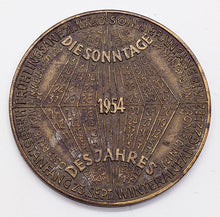 "Load image into Gallery viewer, 1954 Austrian "" The Four Season"" Calendar Medal in Bronze"