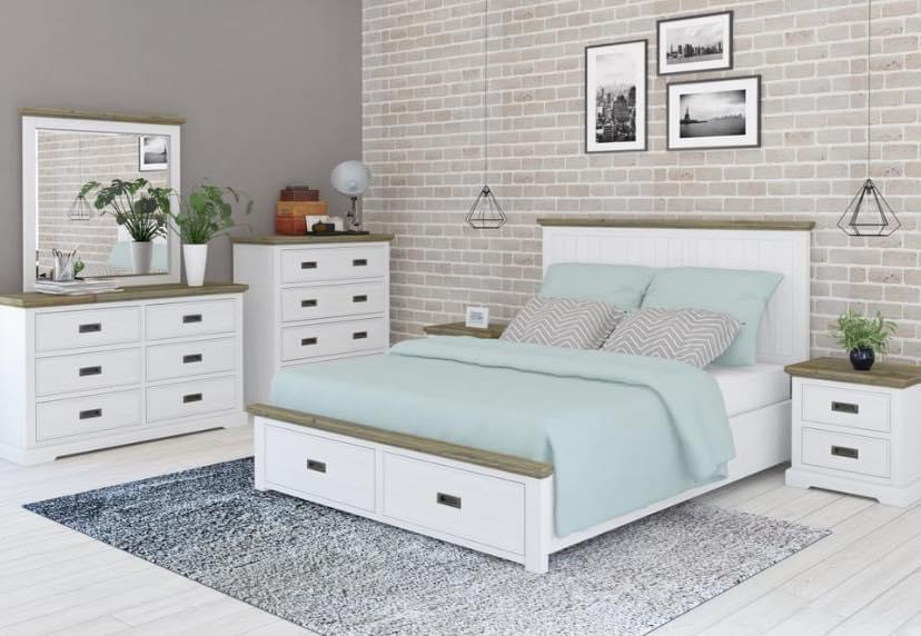 Hamptons Bedroom Package-Bedding & Furniture - Browns Plains