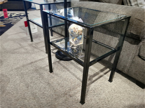 Vintage Glossy Black End Table