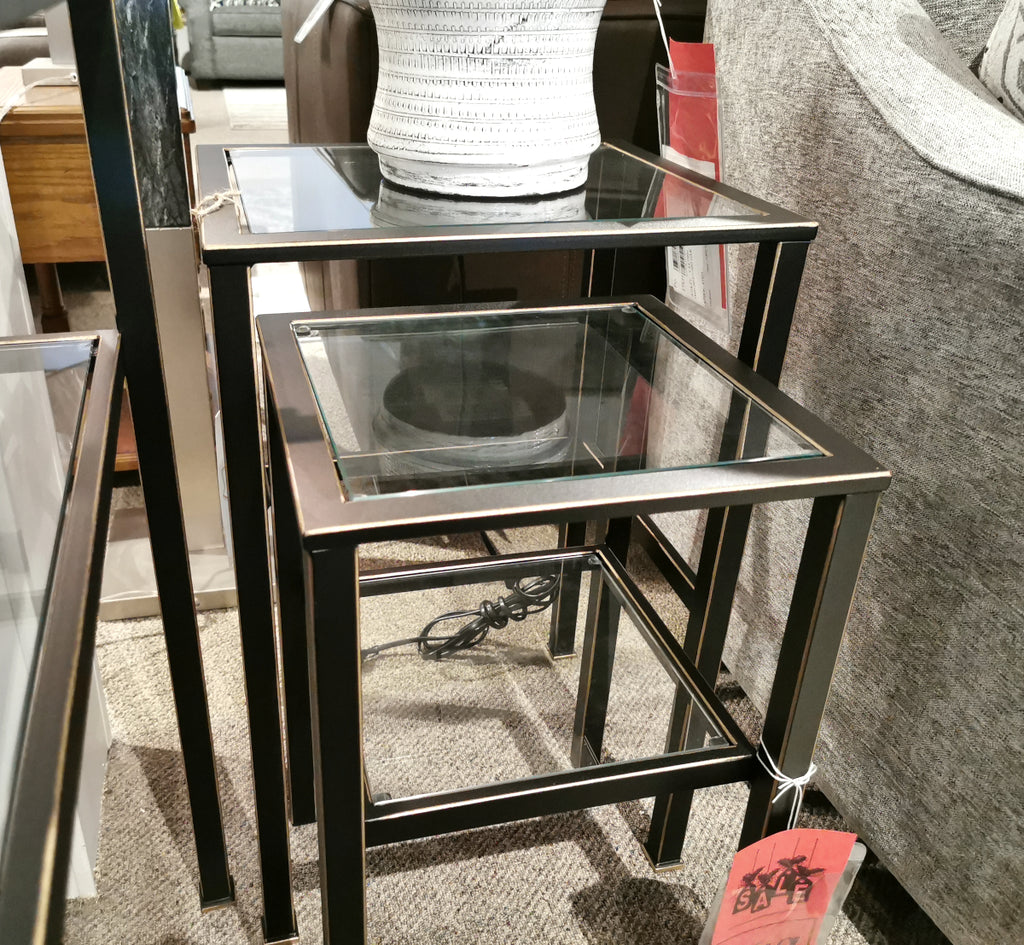 20712 Nesting Tables - Black with Gold