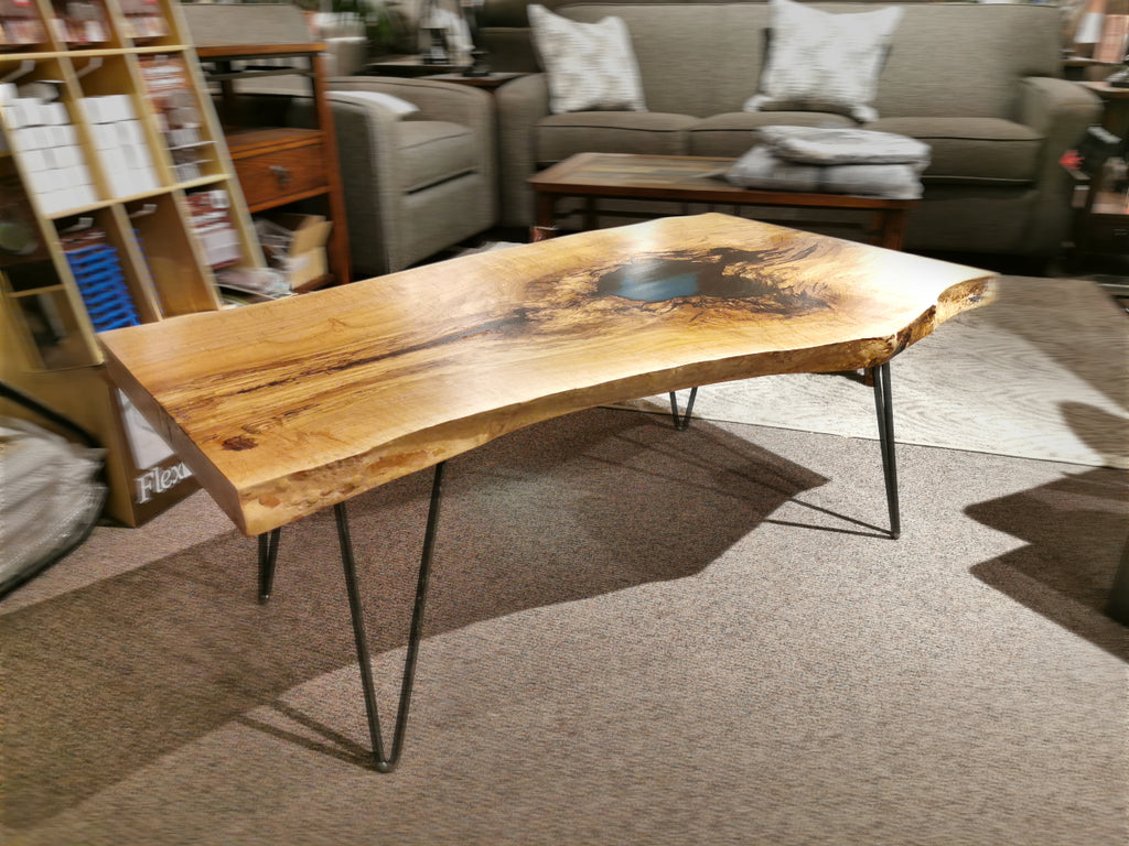 "Spalted Maple Live-edge Blue Epoxy 'Pond' Table 48"" Long"
