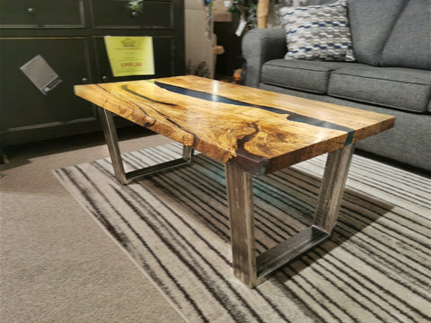 "Spalted Maple Rectangular Table with Blue Epoxy 'River""24"" x 42"""
