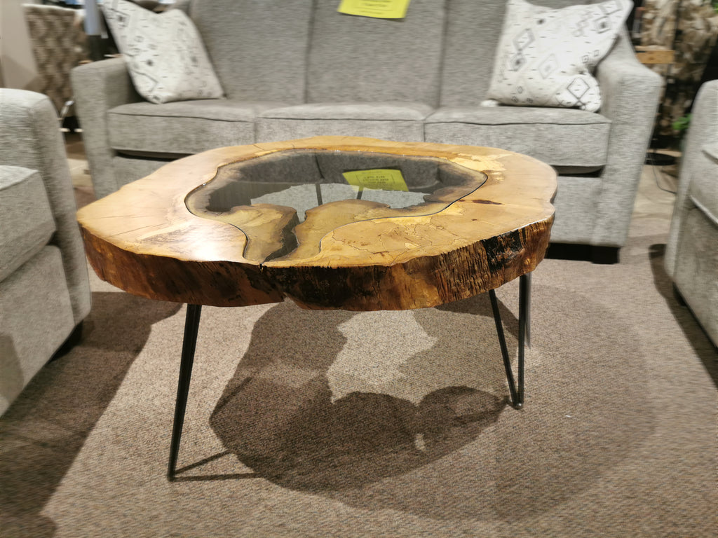 "32.5"" Round Spalted Maple Glass 'Pond' Table"