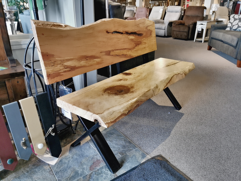 "Spalted Maple 52"" Backed Bench"