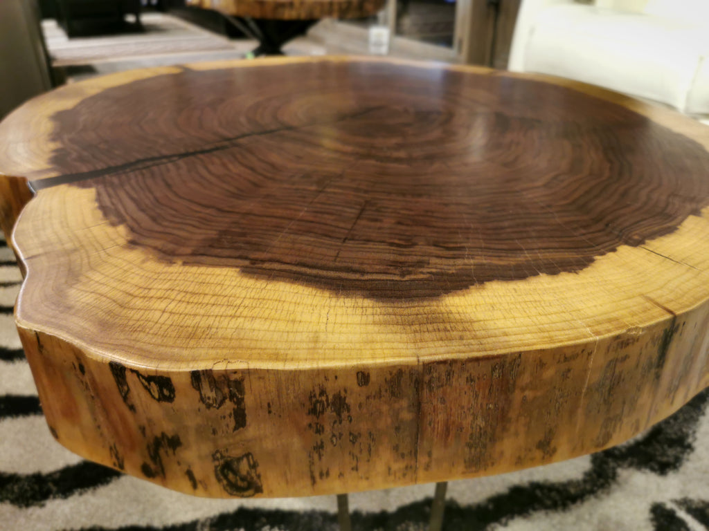 "Walnut ""Cookie"" 27""x31"" Round Coffee Table"
