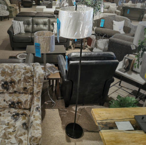 W-1429 Black Swing-Arm Floor Lamp