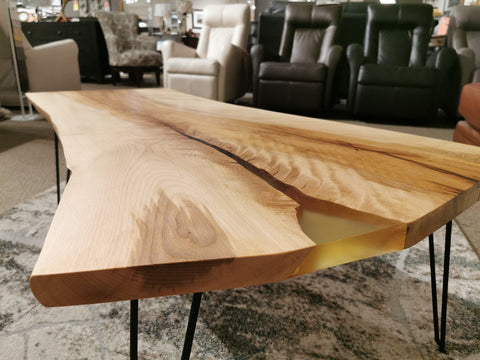 "49.5"" Maple Live Edge Table with Clear Epoxy"