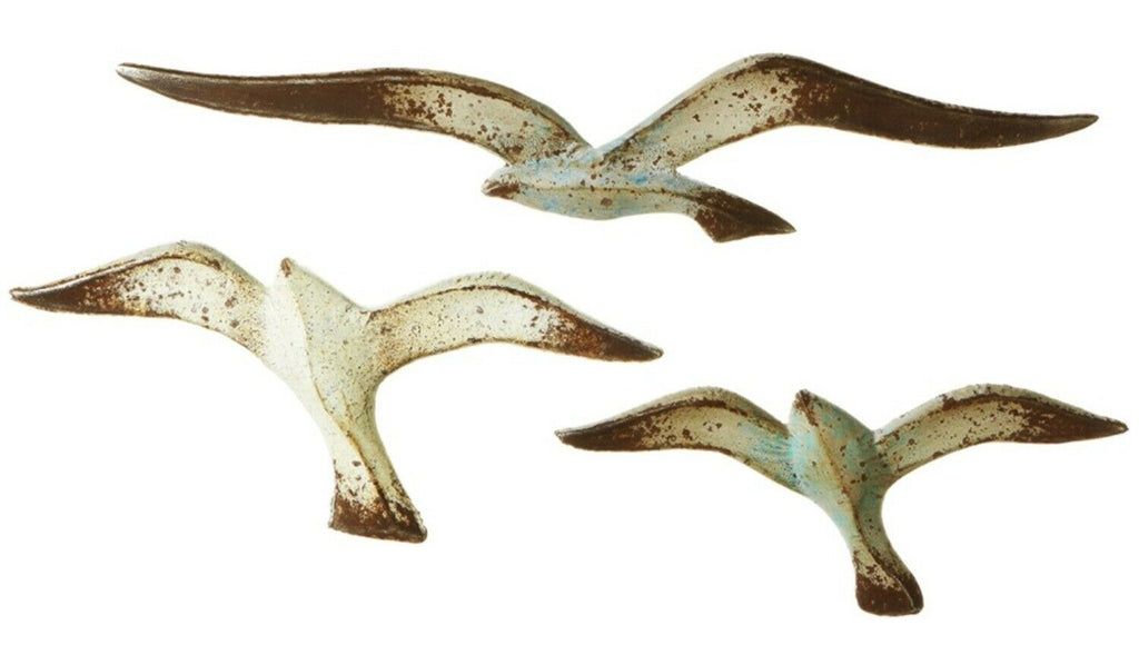 138817 Seagulls Distressed Metal Art