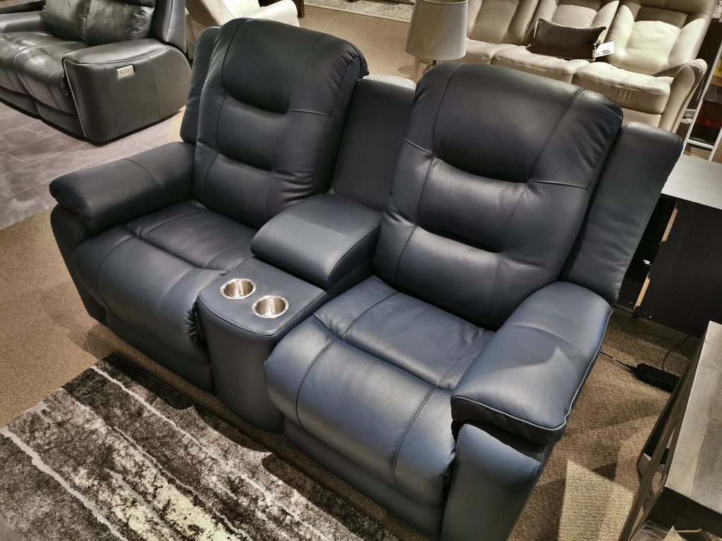 41063 Leightion Leather Power Console Loveseat