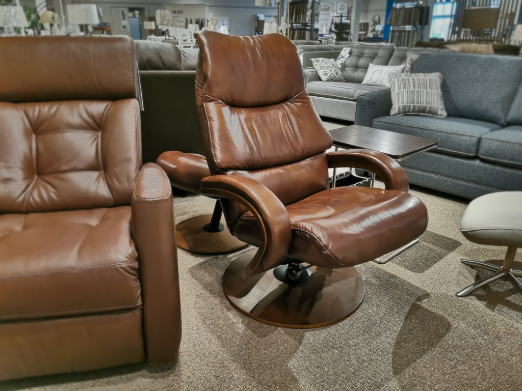 50014 Q14 Leather Swivel Recliner & Ottoman