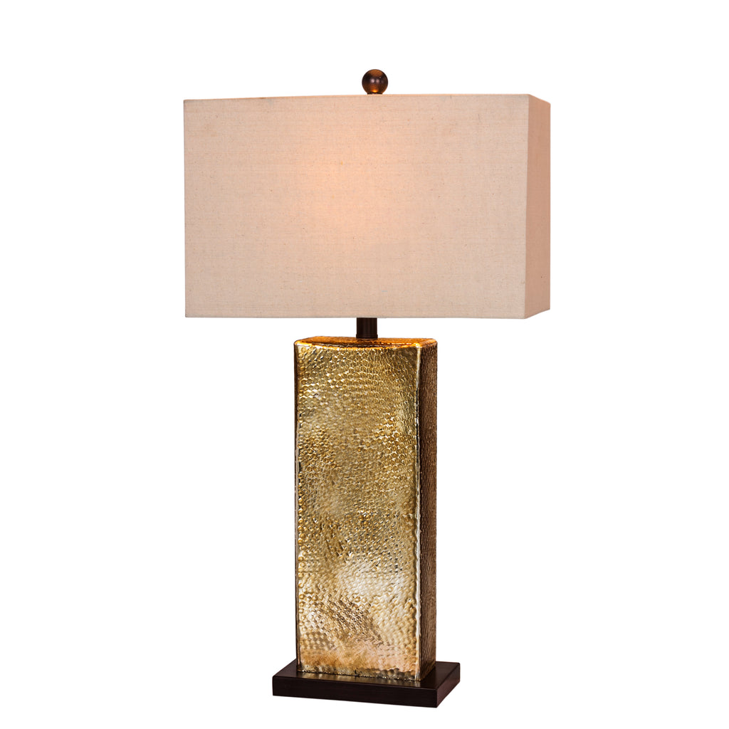 W-5154 Glass & Antiqued Hammered Brass Lamp