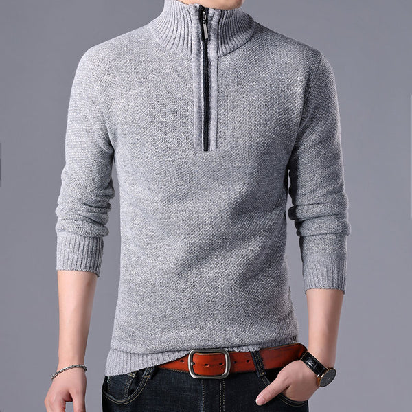 2019 Men's Sweaters Stand Collar Autumn Winter Warm Cashmere Wool Zipper Pullover Sweaters Man Casual Knitwear Slim Fit Tops Men