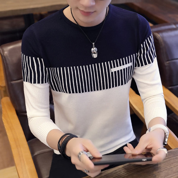 Men's Long-sleeved Round Neck Color-block Vertical Striped Sweater Trendy Fashion Casual Slim Men's Pullover Sweater M-3XL