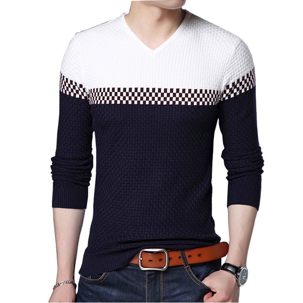 BROWON Men Brand Sweater 2020 Sweater Business Leisure Sweater Pullover V-neck Mens Fit Slim Sweaters Knitted for Man